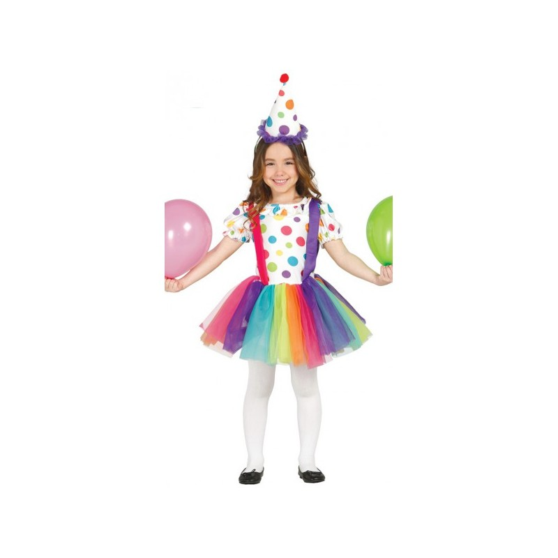 Disfraz de payasita multicolor para niña , Imagen 1