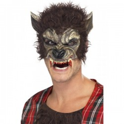 Media máscara de hombre lobo con colmillos ensangrentados - Imagen 1