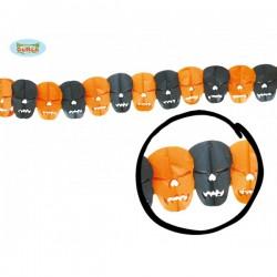Guirnalda calaveras naranjas y negras - Imagen 1