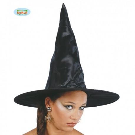 Sombrero de bruja negro de tela - Imagen 1