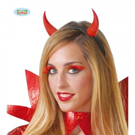Diadema cuernos rojos demonio con luz - Imagen 1