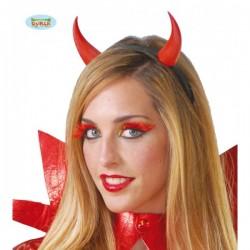 Diadema demonio cuernos rojos - Imagen 1