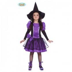 Disfraz de bruja morada para niña - Imagen 1