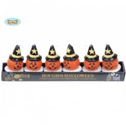Caja de 6 velas calabaza Halloween - Imagen 1
