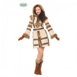 Disfraz de esquimal marrón para mujer - Imagen 1