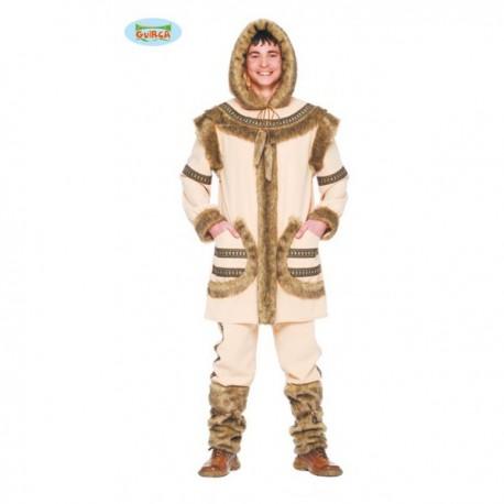 Disfraz de esquimal marrón para hombre - Imagen 1