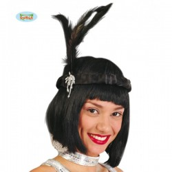 Diadema negra de charlestón con plumas - Imagen 1