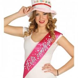 Banda Feliz Cumpleaños rosa fucsia - Imagen 1