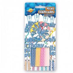 Pack de 24 Velas y 12 portavelas de colores para Cumpleaños - Imagen 1