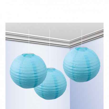 Pack de 3 Faroles 25 cm Azul Celeste - Imagen 1