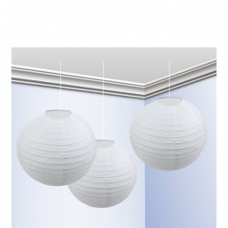 Pack de 3 Faroles 25 cm Blanco - Imagen 1