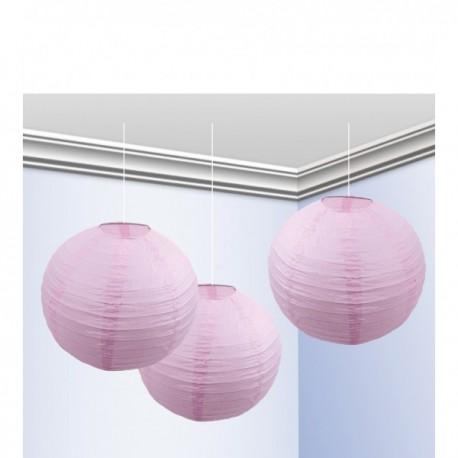 Pack de 3 Faroles 25 cm Rosa Pastel - Imagen 1