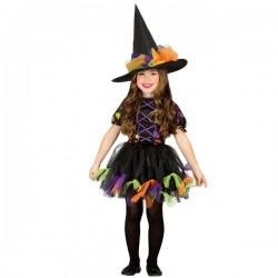 Disfraz de Bruja Topos de colores para niña - Imagen 1