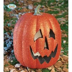 Calabaza 25 cm. Luminosa con Purpurina Halloween - Imagen 1