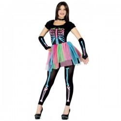 Disfraz de Esqueleto de Colores para mujer - Imagen 1