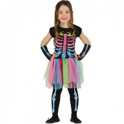 Disfraz de Esqueleto de Colores para niña - Imagen 1