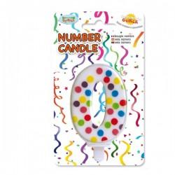 Vela de Cumpleaños Confeti Número 0 - Imagen 1