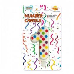 Vela de Cumpleaños Confeti Número 1 - Imagen 1
