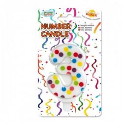 Vela de Cumpleaños Confeti Número 3 - Imagen 1
