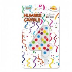 Vela de Cumpleaños Confeti Número 4 - Imagen 1