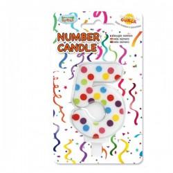 Vela de Cumpleaños Confeti Número 5 - Imagen 1