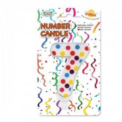 Vela de Cumpleaños Confeti Número 7 - Imagen 1