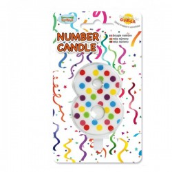Vela de Cumpleaños Confeti Número 8 - Imagen 1