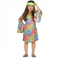 Disfraz de hippie multicolor para niña - Imagen 1