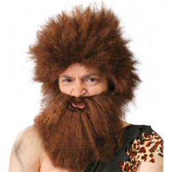 Peluca de cavernícola con barba - Imagen 1