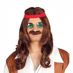 Peluca de hippie liberal con bigote - Imagen 1