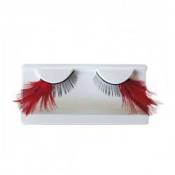Pestañas postizas con plumas rojas y pegamento - Imagen 1