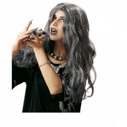 Peluca larga canosa de bruja para mujer - Imagen 1