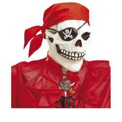 Máscara de calavera pirata con bandana roja - Imagen 1