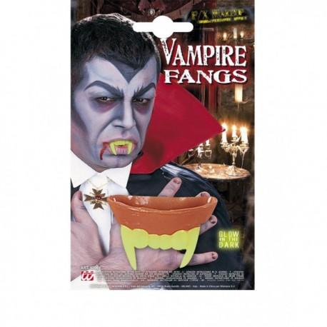 Dientes de vampiro fluorescentes para adulto - Imagen 1