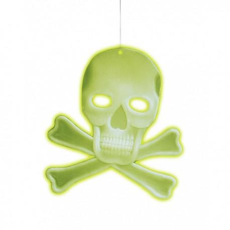 Calavera colgante 3D con huesos fluorescente - Imagen 1