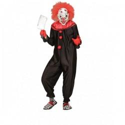 Disfraz de payaso negro y rojo asesino para hombre - Imagen 1