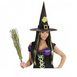 Peluca de bruja con mechas verdes - Imagen 1