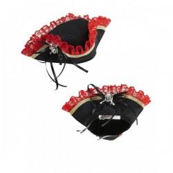Mini tricornio pirata con calavera - Imagen 1