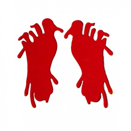 Set de dos pegatinas de pies sangrientos - Imagen 1