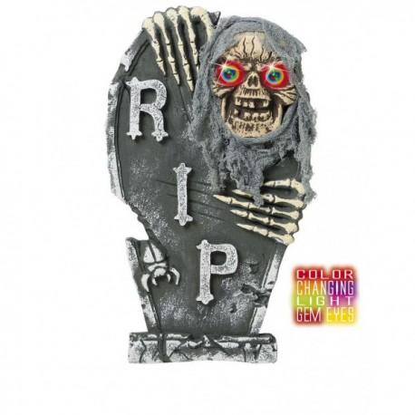 Lápida esqueleto con ojos de color - Imagen 1
