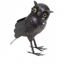 Búho grande con purpurina negra - Imagen 1