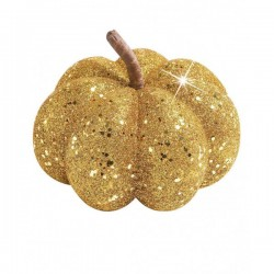 Calabaza decorativa con purpurina dorada - Imagen 1