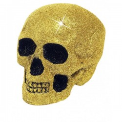 Calavera decorativa con purpurina dorada - Imagen 1