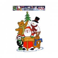 Pegatina para ventana familia de Papá Noel - Imagen 1