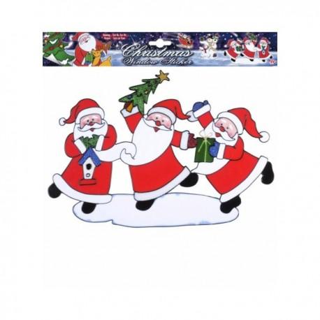 Pegatina para ventana Papás Noeles bailarines - Imagen 1