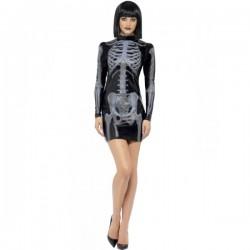 Disfraz de esqueleto Fever ajustado para mujer - Imagen 1