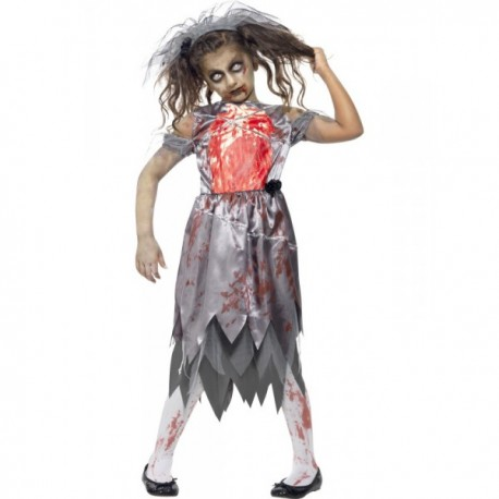 Disfraz de novia zombie para niña - Imagen 1