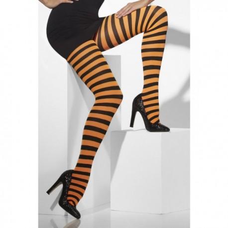 Pantys de rayas negras y naranjas - Imagen 1