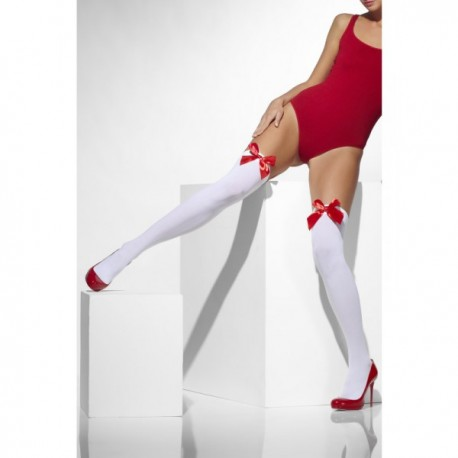 Medias sexy blancas con lazos rojos - Imagen 1