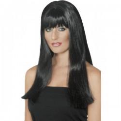 Peluca negra lisa con flequillo - Imagen 1